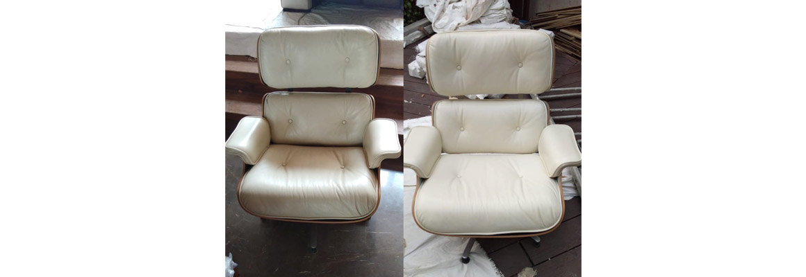 White Leather Office Chair Restoration